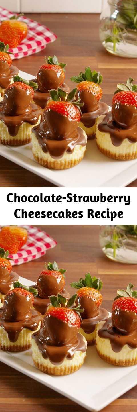 Chocolate-Strawberry Cheesecakes Recipe - Chocolate-covered strawberries + cheesecake = OMG. #easy #recipe #chocolate #strawberry #cheesecake #bites #mini #dessert #valentinesday #valentines #crust