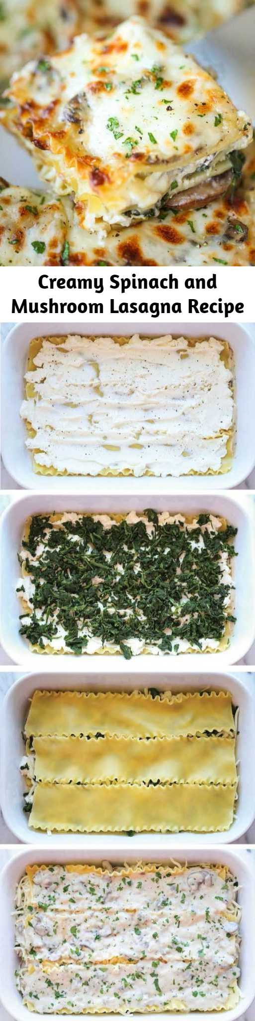 Creamy Spinach and Mushroom Lasagna Recipe - This is sure to become a family favorite. Best of all, it's freezer-friendly and can also be made ahead of time!
