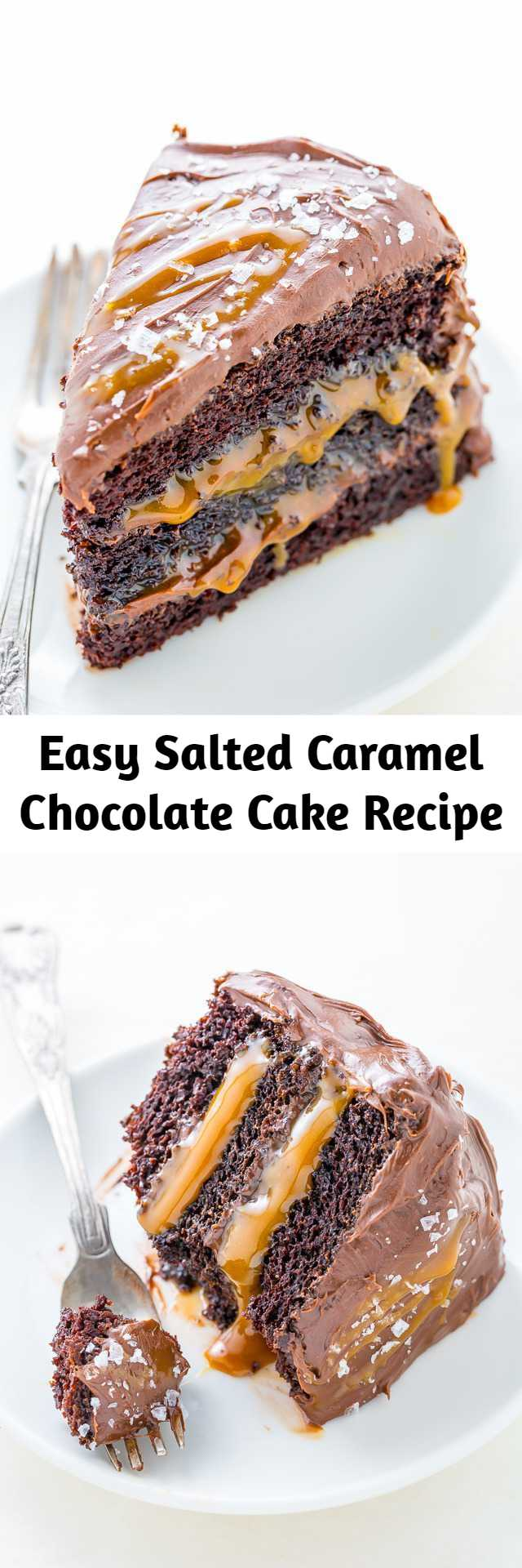 Easy Salted Caramel Chocolate Cake Recipe - Three layers of Salted Caramel Chocolate Cake slathered in homemade Chocolate Frosting. This Salted Caramel Chocolate Cake is moist and sinfully decadent! So if you love chocolate and caramel, you'll LOVE this easy recipe for how to make Chocolate Caramel Cake!
