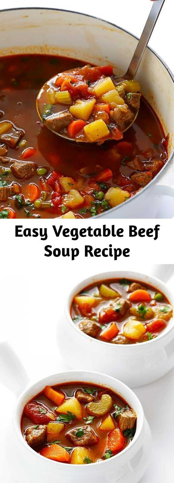 Easy Vegetable Beef Soup Recipe - This vegetable beef soup recipe is a classic — full of tender steak, lots of veggies, and delicious flavor! Especially on freezing cold winter days, it always hits the spot.