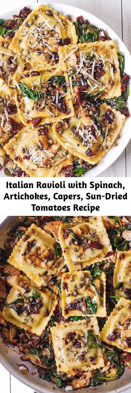 Italian Ravioli with Spinach, Artichokes, Capers, Sun-Dried Tomatoes Recipe - Italian Ravioli with Spinach, Artichokes, Capers, Sun-Dried Tomatoes. The vegetables are sautéed in garlic and olive oil. Meatless, refreshing, Mediterranean style pasta recipe that doesn't need any meat - this meal will keep you full!