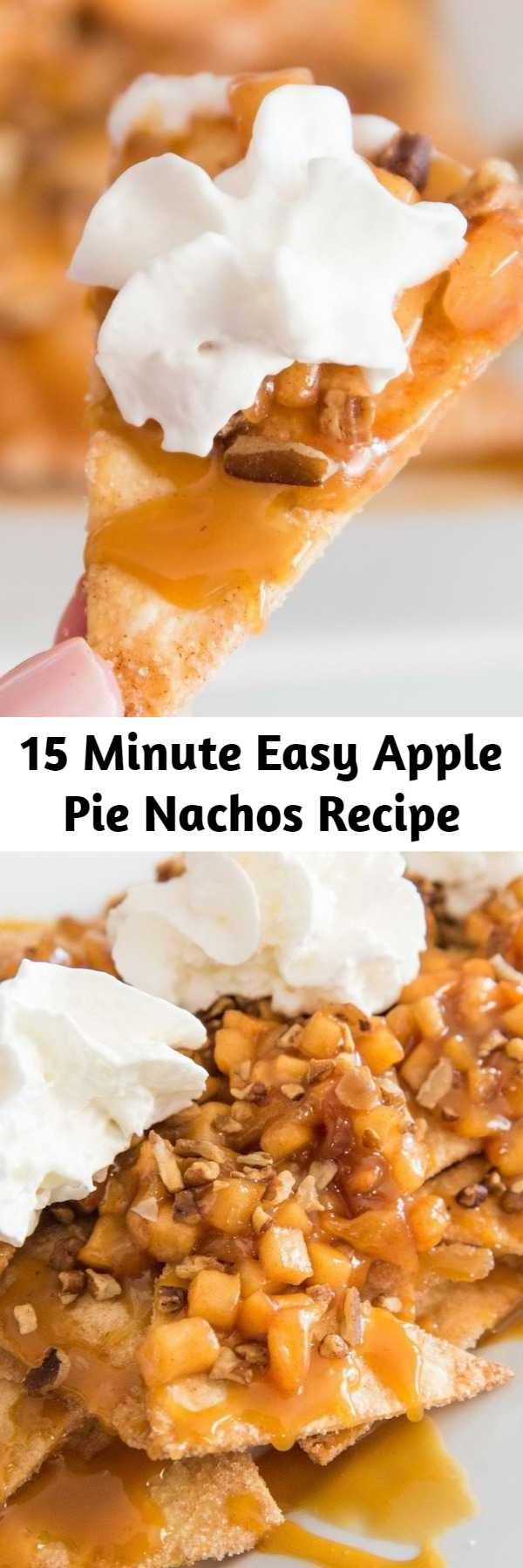 15 Minute Easy Apple Pie Nachos Recipe - Easy Baked Apple Pie Nachos – delicious cinnamon sugary apple filling on warm, crispy and sweet nachos, topped with pecans, drizzled with caramel sauce, and then topped with whipped cream! The easiest dessert that comes together in no time. It's the perfect way to serve apple pie to a crowd! Quick and easy recipe. An irresistible party dessert!