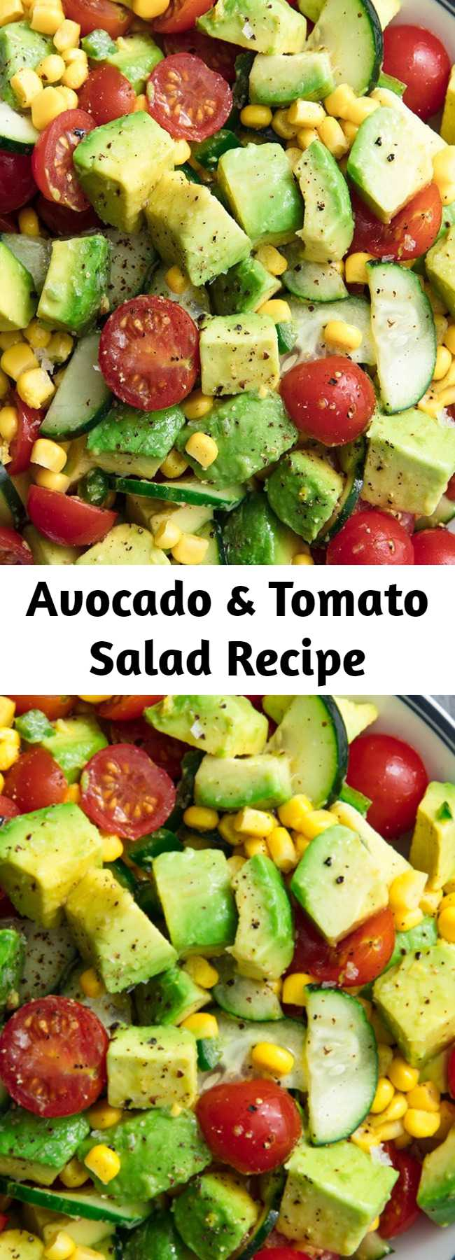 Avocado & Tomato Salad Recipe - Don't confuse this with guac — there's way more depth of flavor. You are, however, totally welcome to eat it with chips. (Just know it tastes amazing with out 'em.) #easyrecipe #avocado #salad #summer #food