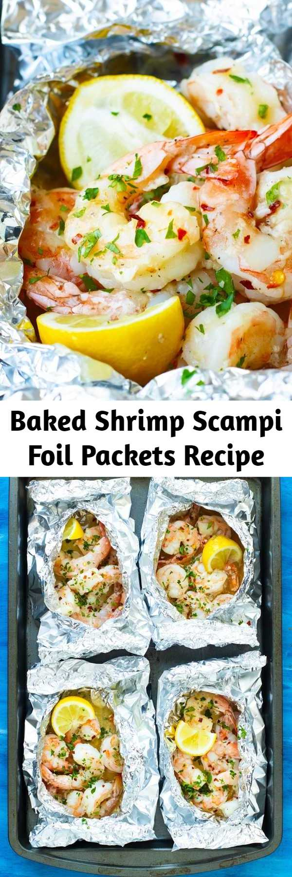 Baked Shrimp Scampi Foil Packets Recipe - Baked Shrimp Scampi is tossed in a delicious garlic and butter white wine sauce, made in convenient foil packets, and is healthy, low-carb, gluten-free, low-carb, and can be made Paleo and Whole30.  This easy weeknight dinner recipe comes together in under 20 minutes, too! #lowcarb #keto #shrimp #dinner