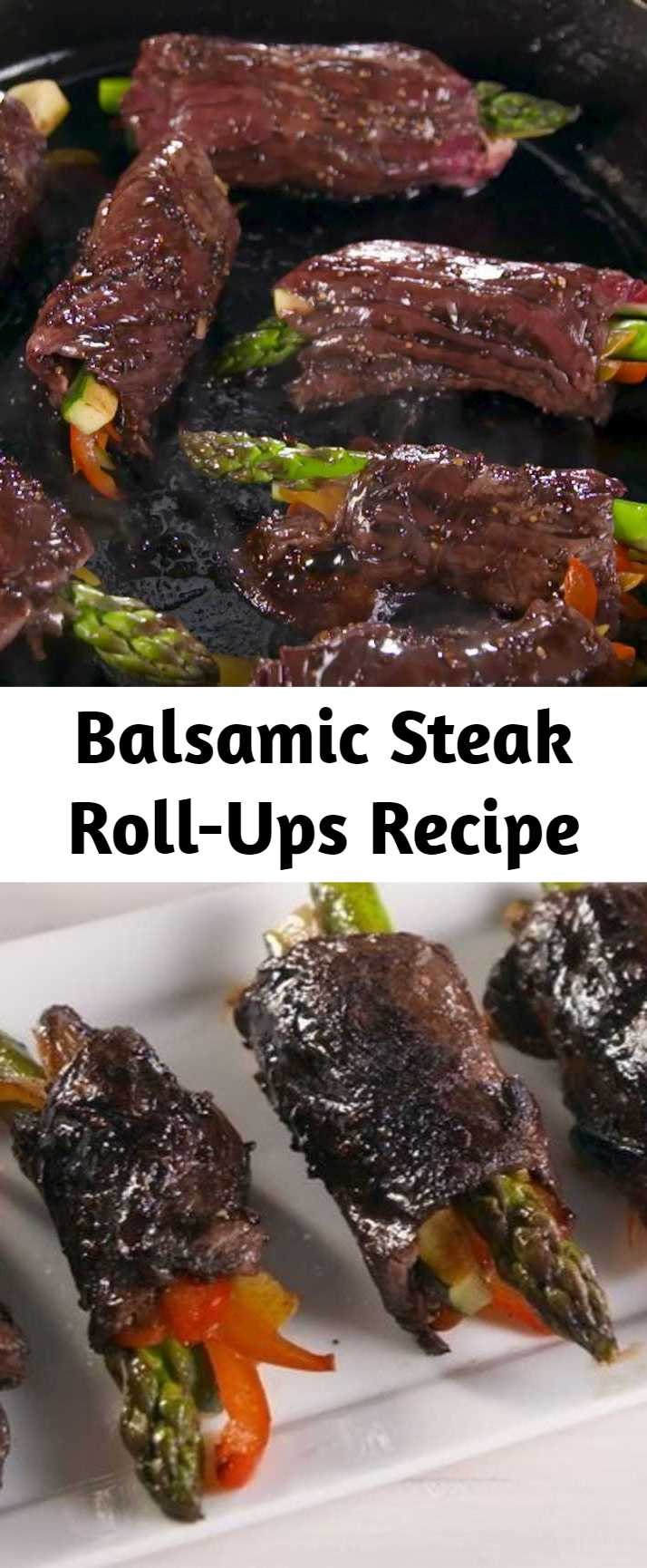 Balsamic Steak Roll-Ups Recipe - Securing the roll-ups with toothpicks makes them MUCH easier to cook. Just don't forget to remove them when it's time for serving! #easyrecipe #steak #lowcarb #meat #party