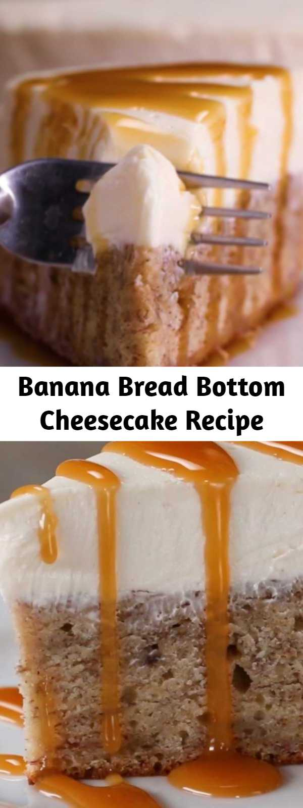 Banana Bread Bottom Cheesecake Recipe - It is soo darn easy to make and holy moly is it decadent and rich.  The banana bread layer smelled absolutely heavenly baking and turned out sooo moist and delicious, and the cheesecake layer couldn't have been more creamy or easy to make.