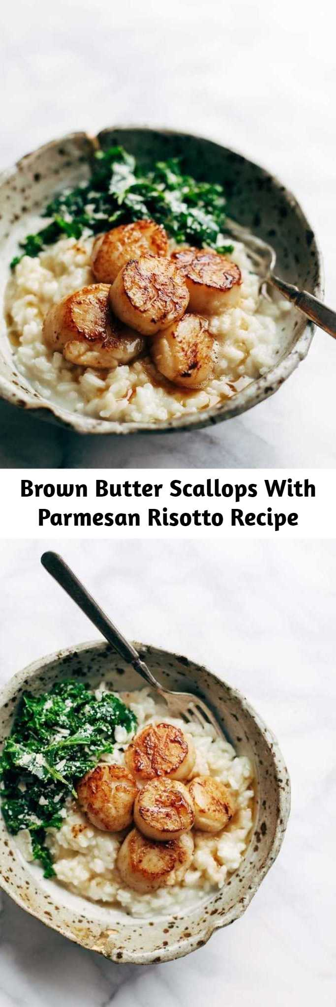 Brown Butter Scallops With Parmesan Risotto Recipe - Brown Butter Scallops with Parmesan Risotto! So Luscious! So Fancy! A cozy, romantic recipe that feels like a fancy restaurant meal at home!. Say hello to this delicious meal!