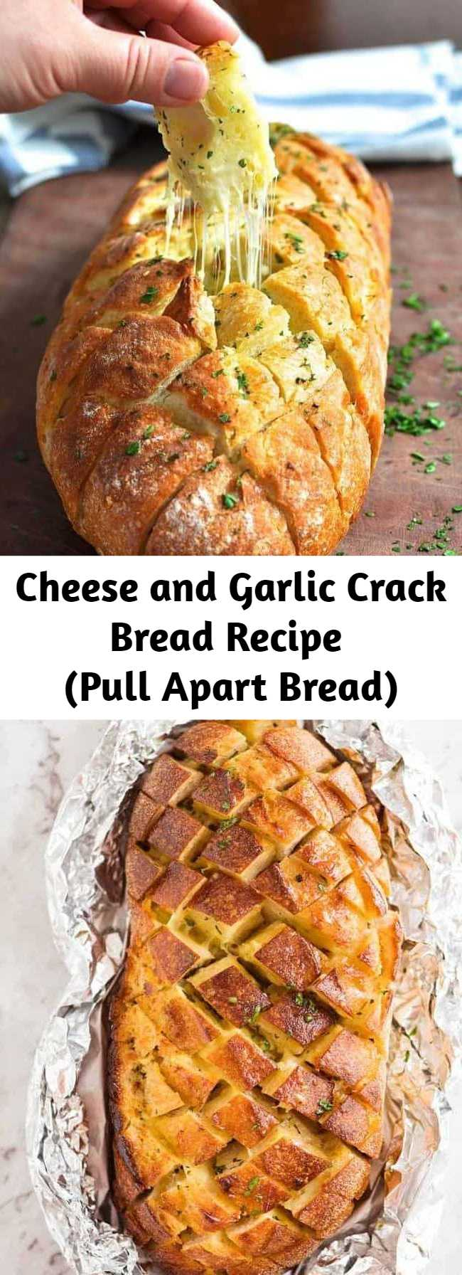 Cheese and Garlic Crack Bread Recipe (Pull Apart Bread) - This is garlic bread - on crack! Great to share with a crowd, or as a centre piece for dinner accompanied by a simple salad.