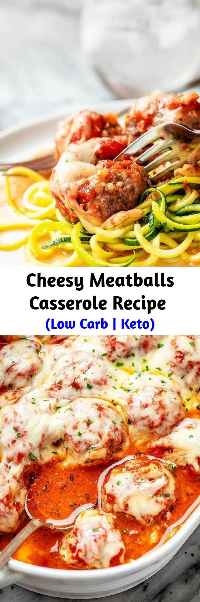 Cheesy Meatballs Casserole Recipe (Low Carb | Keto) - Looking for a great low carb dinner option? This low carb turkey meatball casserole recipe is absolutely fabulous. #lowcarb #meatballs #recipe