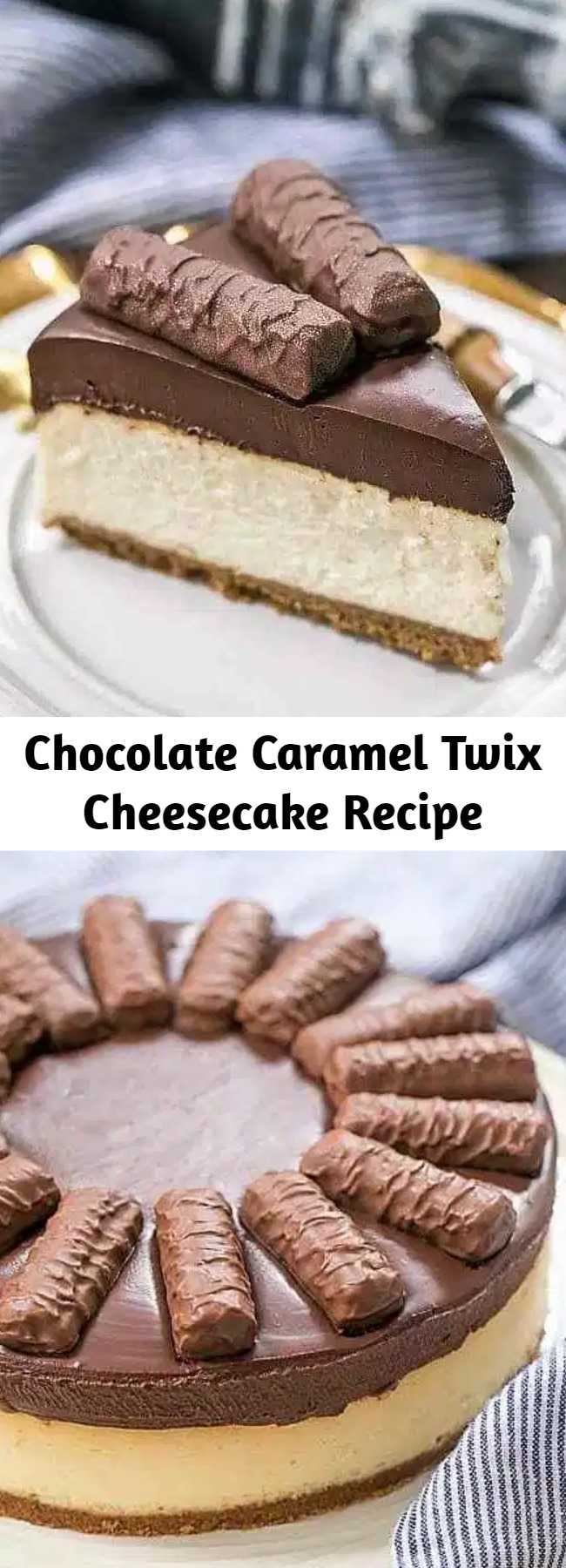 Chocolate Caramel Twix Cheesecake Recipe - A blissful Chocolate Caramel Twix Cheesecake with a dreamy cheesecake topped with a thick, exquisite ganache before a drizzle of buttery caramel sauce! Every bite will make you swoon! #cheesecake #twix #caramel #ganache