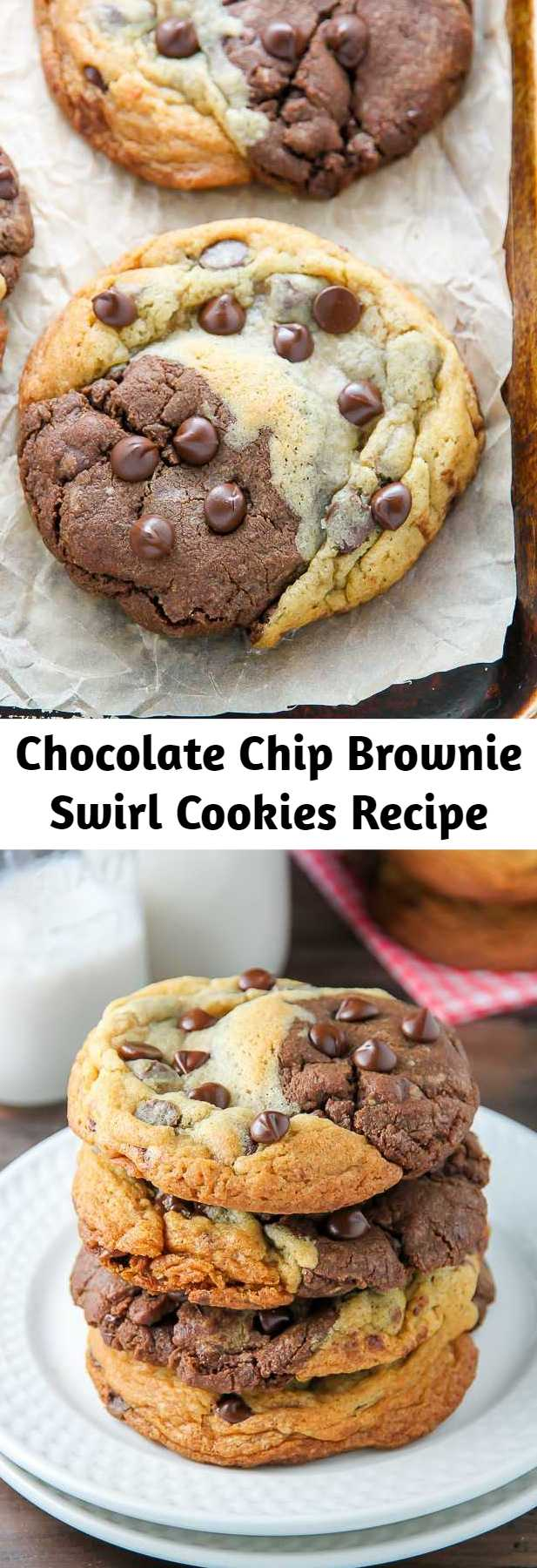 Chocolate Chip Brownie Swirl Cookies Recipe - What happens when a cookie and a brownie meet? Chocolate Chip Brownie Swirl Cookies. Also known as Brookies by some! These cookies are the best of both worlds.