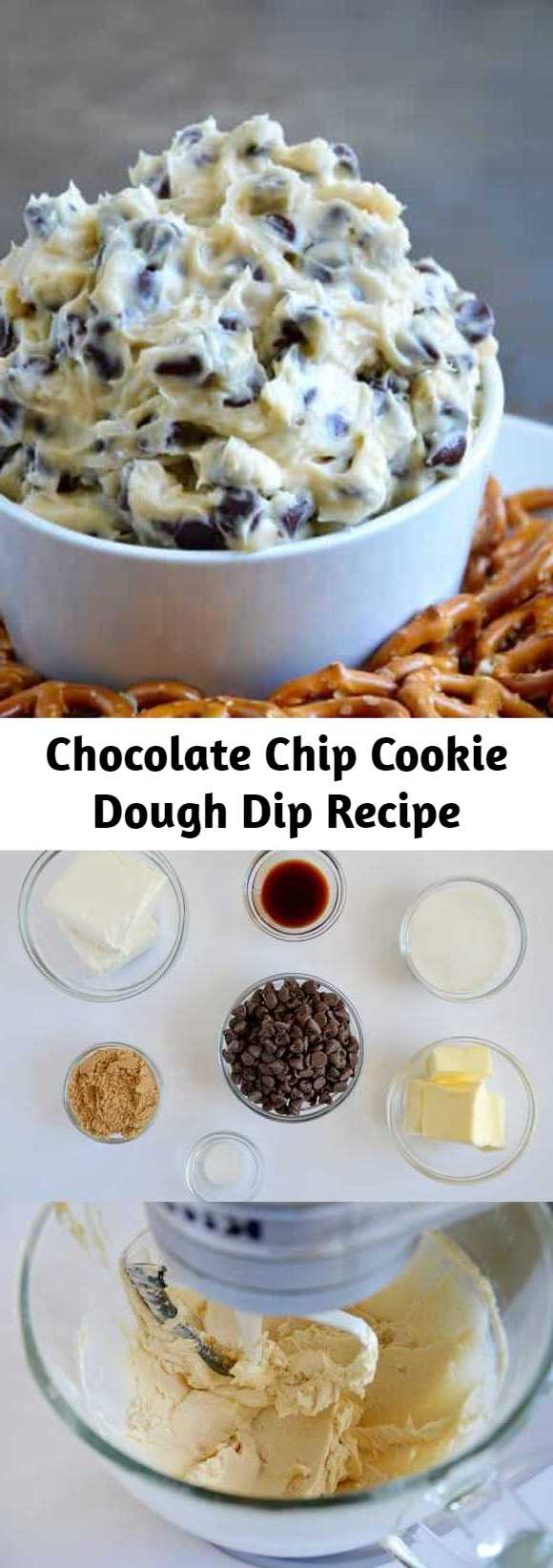 Chocolate Chip Cookie Dough Dip Recipe - Skip the eggs and ditch the oven with a quick and creamy recipe for no-bake Chocolate Chip Cookie Dough Dip!