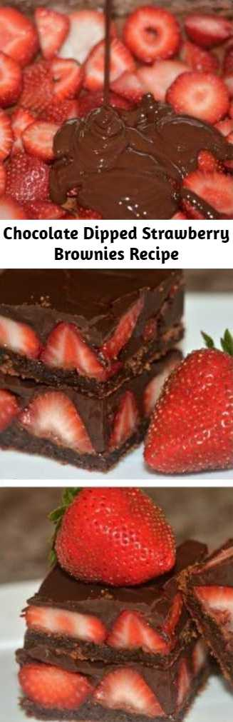 Chocolate Dipped Strawberry Brownies Recipe - These were just as easy as they sounded and tasted even better than I imagined. They truly taste like chocolate dipped strawberries laying on a  brownie! These don't even require a mixer! I used the microwave and beat the rest right in! Easy, peasy!