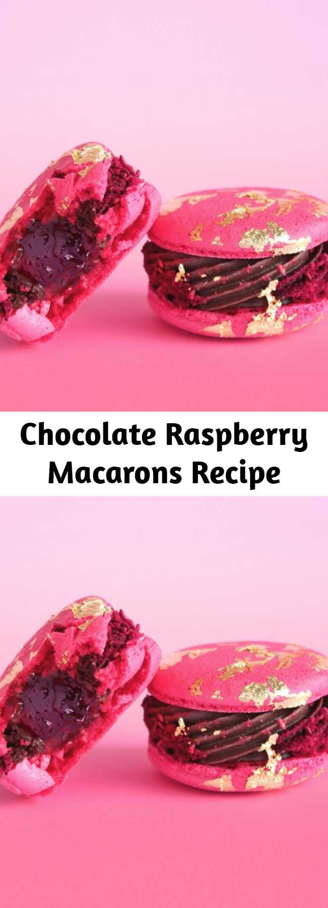 Chocolate Raspberry Macarons Recipe - All that glitters may not be gold, but these macarons are the exception.