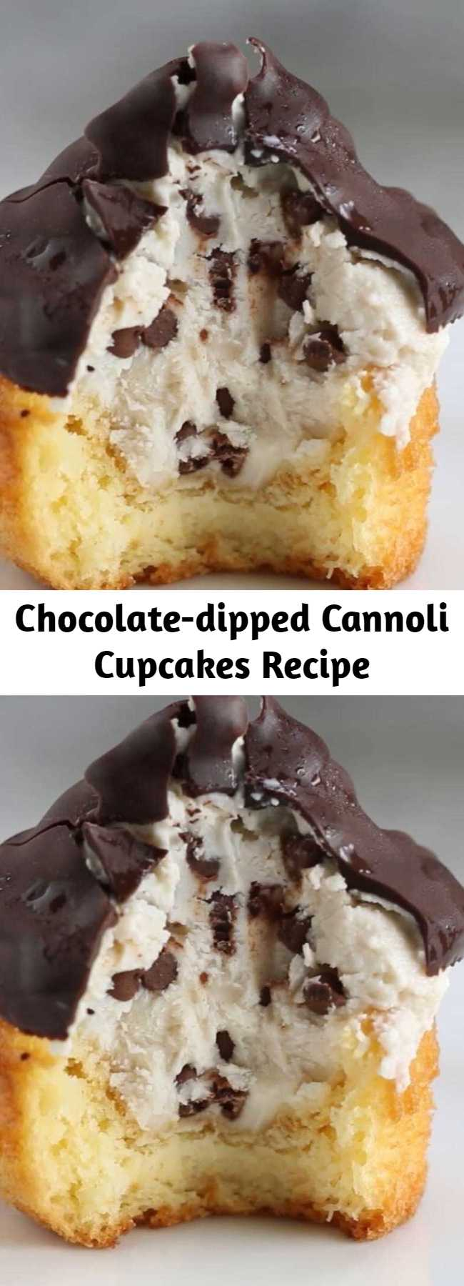 Chocolate-dipped Cannoli Cupcakes Recipe - Your favorite Italian dessert just got even better! This Chocolate Dipped Cannoli Cupcake taste just like your eating an Italian Cannoli only in cupcake form!