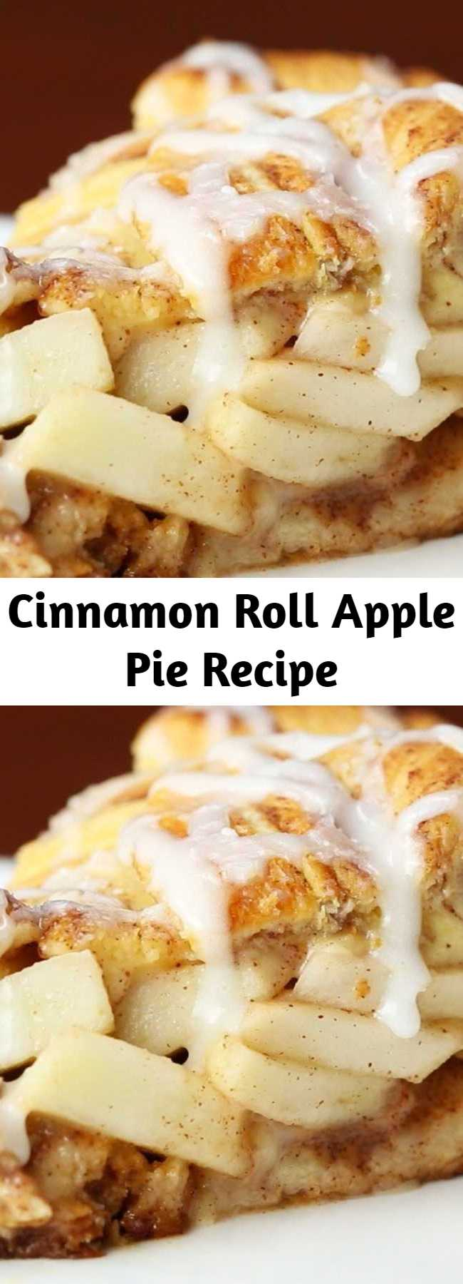 Cinnamon Roll Apple Pie Recipe - Cinnamon rolls and apple pie all in one? It's almost too good to be true! This amazing dessert only has 5 ingredients and is perfect to make for Thanksgiving, a holiday party, or even just to enjoy the fall weather.