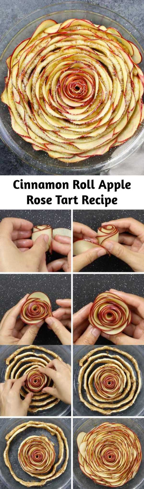 Cinnamon Roll Apple Rose Tart Recipe - Wow your guests with this beautiful Cinnamon Roll Apple Rose Tart. It's so easy to make and perfect for a party! Made with fresh apples. All you need is only 5 simple ingredients: cinnamon roll dough, red apples, lemon juice, brown sugar and butter. So beautiful! Quick and easy recipe.