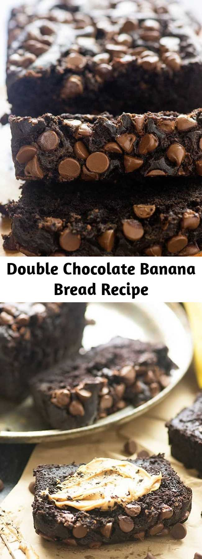 Double Chocolate Banana Bread Recipe - This chocolate banana bread recipe is seriously packing the chocolate flavor! It's super moist and those chocolate chips all over the top just make it fun to eat! #banana #chocolate #recipe