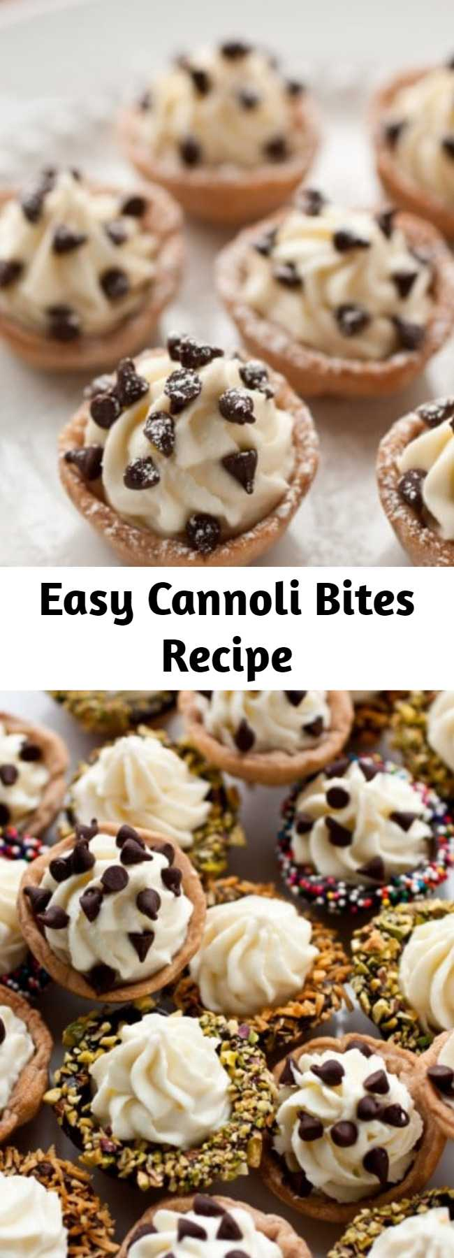 Easy Cannoli Bites Recipe - All the flavors of cannoli in mini oven baked treats. Made with a crisp pastry shell, filled with a sweet ricotta filling and finished with chocolate chips. Who could resist this tempting treat?