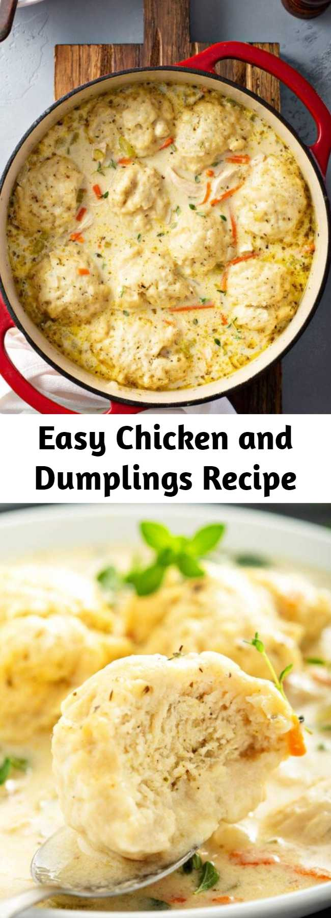Easy Chicken and Dumplings Recipe - This easy recipe for my family's favorite creamy Homemade Chicken and Dumplings is loaded with big fluffy dumplings that are made from scratch in just minutes! #ChickenAndDumplings #Dumplings #ComfortFood #Chicken #ChickenSoup #Soup #Dumplings #SouthernFood