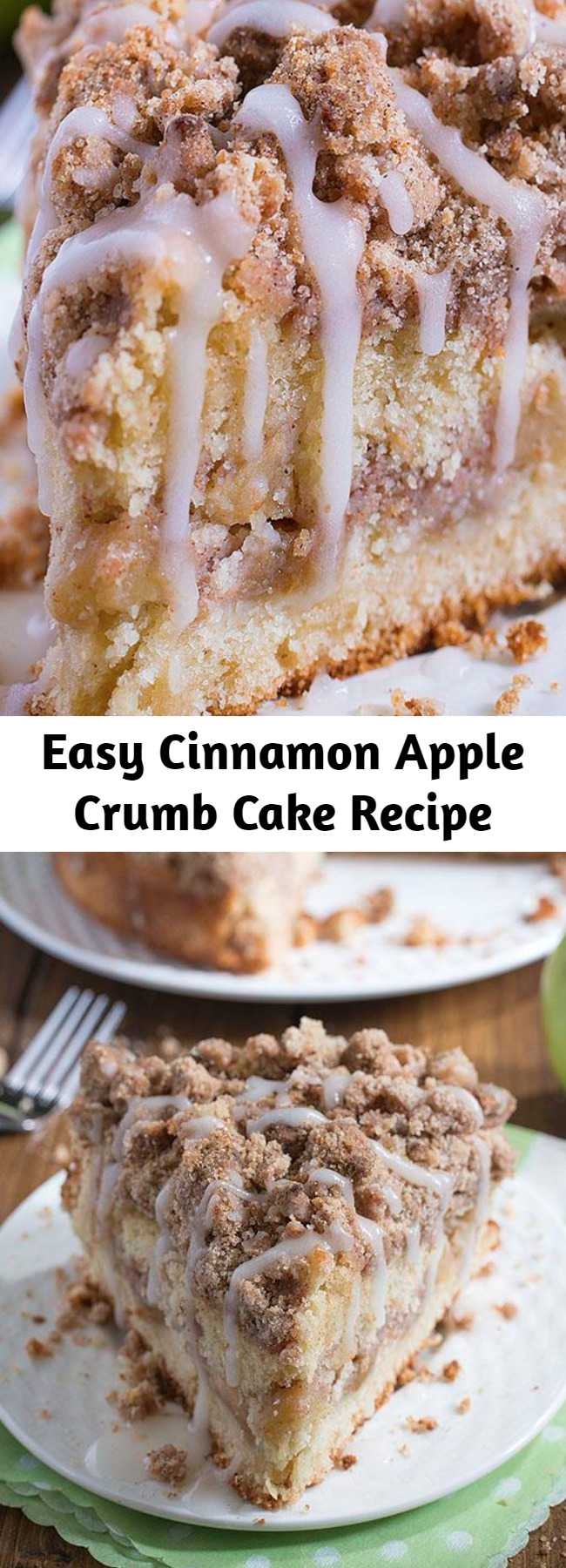 Easy Cinnamon Apple Crumb Cake Recipe - Are you ready for fall baking? Cinnamon Apple Crumb Cake is the perfect dessert for crisp weather coming up.