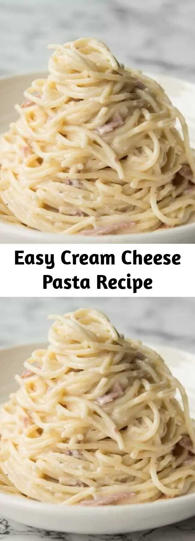 Easy Cream Cheese Pasta Recipe - Here I'll show you a secret tip to getting truly creamy Cream Cheese Pasta without the sauce drying up. With just 5 ingredients, this easy pasta dish is a total winner! #cream #cheese #creamcheese ##creamcheesepasta #pasta