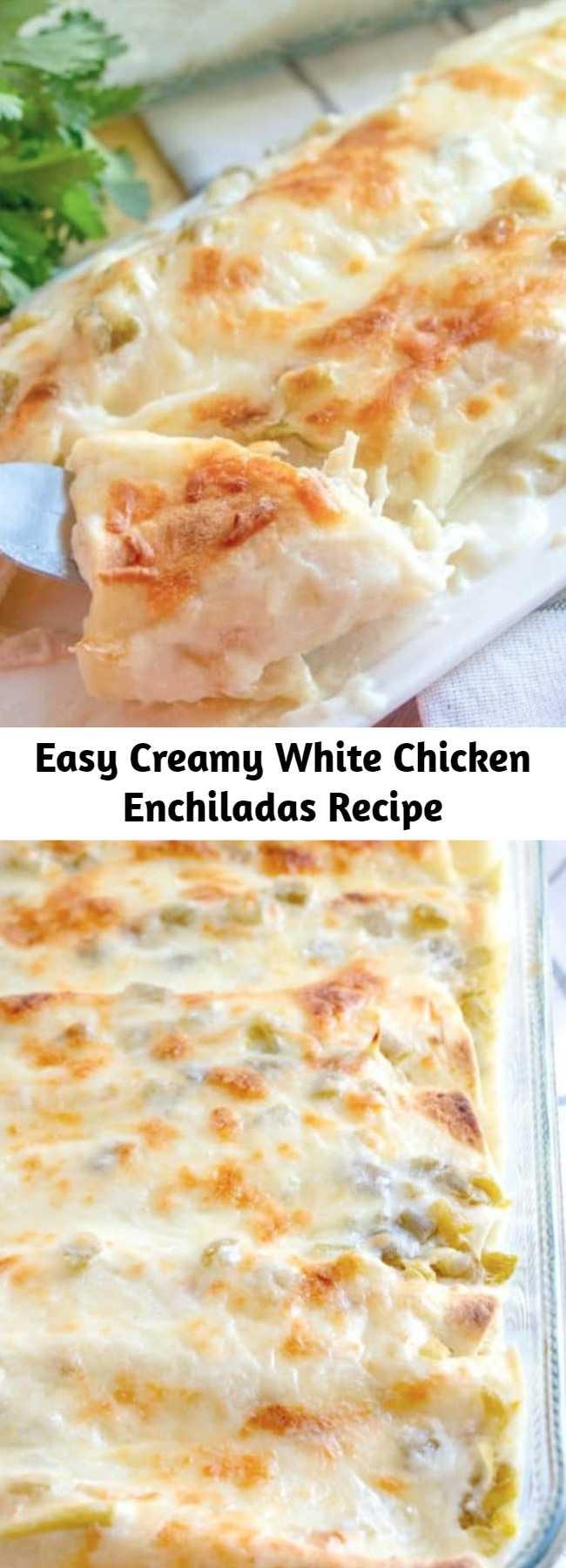 Easy Creamy White Chicken Enchiladas Recipe - White Chicken Enchiladas are made with flour tortillas, shredded chicken, mozzarella, green chiles and a delicious white cream sauce!