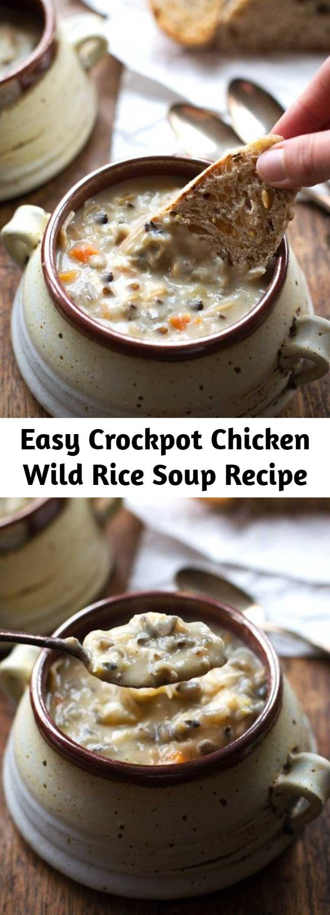 Easy Crockpot Chicken Wild Rice Soup Recipe - This Crockpot Chicken Wild Rice Soup is so darn simple to make and goes perfectly with a piece of crusty bread on a cold winter night. #soup #crockpot #slowcooker #chicken #easy #dinner