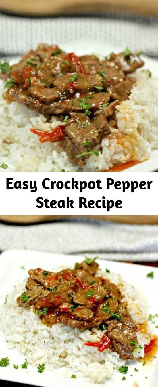 Easy Crockpot Pepper Steak Recipe - Looking for an easy crock pot recipe? This Crockpot Pepper Steak Recipe is delicious! Easy pepper steak recipe tastes amazing in the crock pot. Try this crock pot Chinese pepper steak recipe today! #crockpotrecipes #slowcookerrecipes #crockpot #slowcooker #beefrecipes #recipes