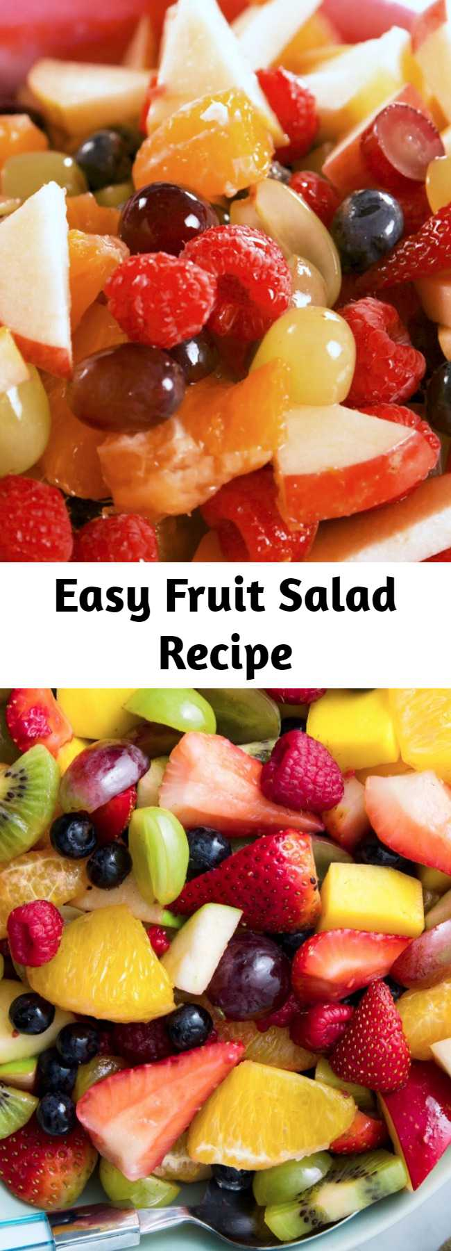 Easy Fruit Salad Recipe - Really? A recipe for fruit salad? Yes, you need it. Because this dressing takes strawberries, raspberries, and mangoes to a whole new level. #easyrecipe #fruitsalad #fruit #dessert #summer