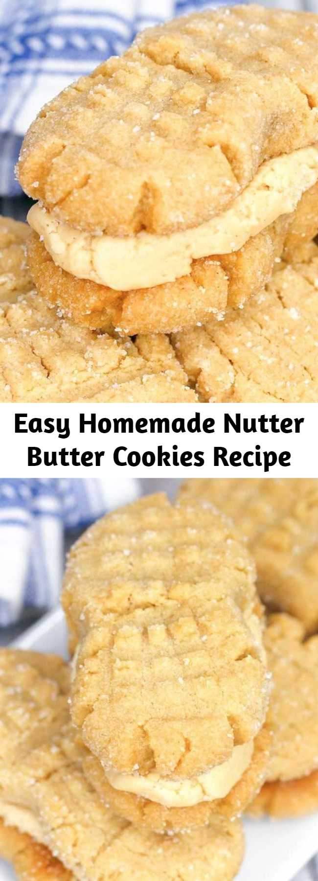 """Easy Homemade Nutter Butter Cookies Recipe - Soft peanut butter cookies filled with luscious peanut butter cream — these Homemade Nutter Butter cookies might just be better than the """"real"""" thing! #cookies #peanutbutter #desserts"""