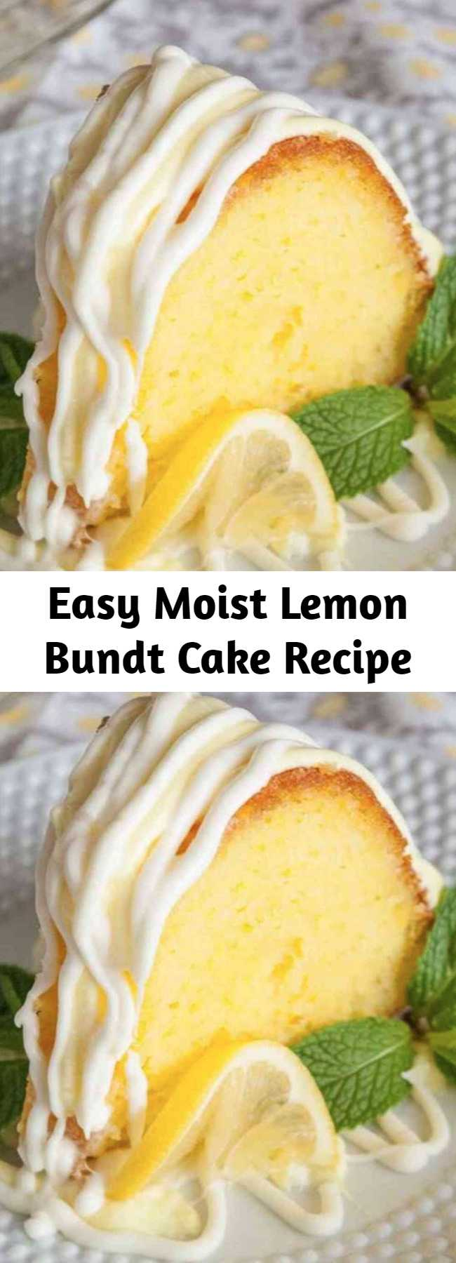 Easy Moist Lemon Bundt Cake Recipe - This easy lemon bundt cake drizzled with lemon cream cheese frosting is a fantastic nearly from scratch dessert! It's super moist and super tasty!