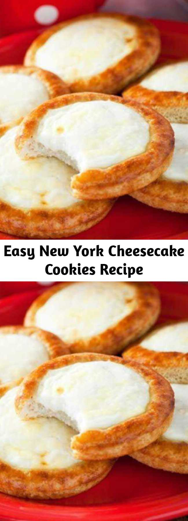 Easy New York Cheesecake Cookies Recipe - What could possibly be better than a slice of New York style cheesecake? How about jamming the whole thing together into cookie form!