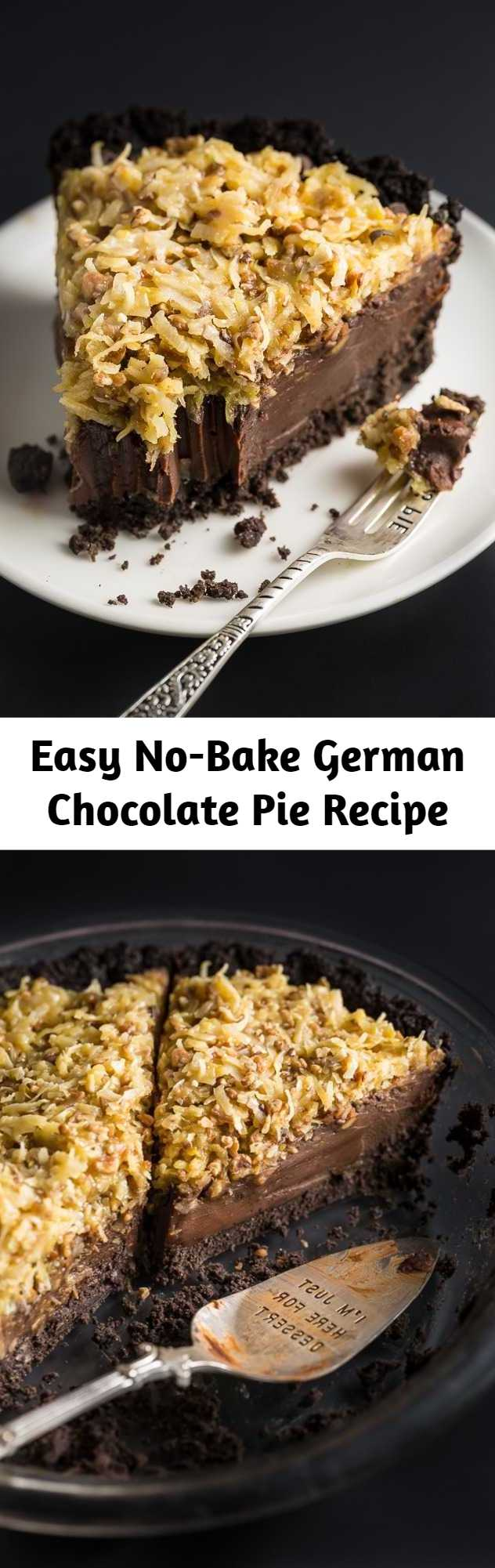 Easy No-Bake German Chocolate Pie Recipe - An easy and indulgent No-Bake German Chocolate Pie Recipe! Featuring a chocolate cookie crust, decadent chocolate filling, and coconut pecan topping, this sinfully sweet pie is always a hit! Perfect for those days it's too hot to bake!
