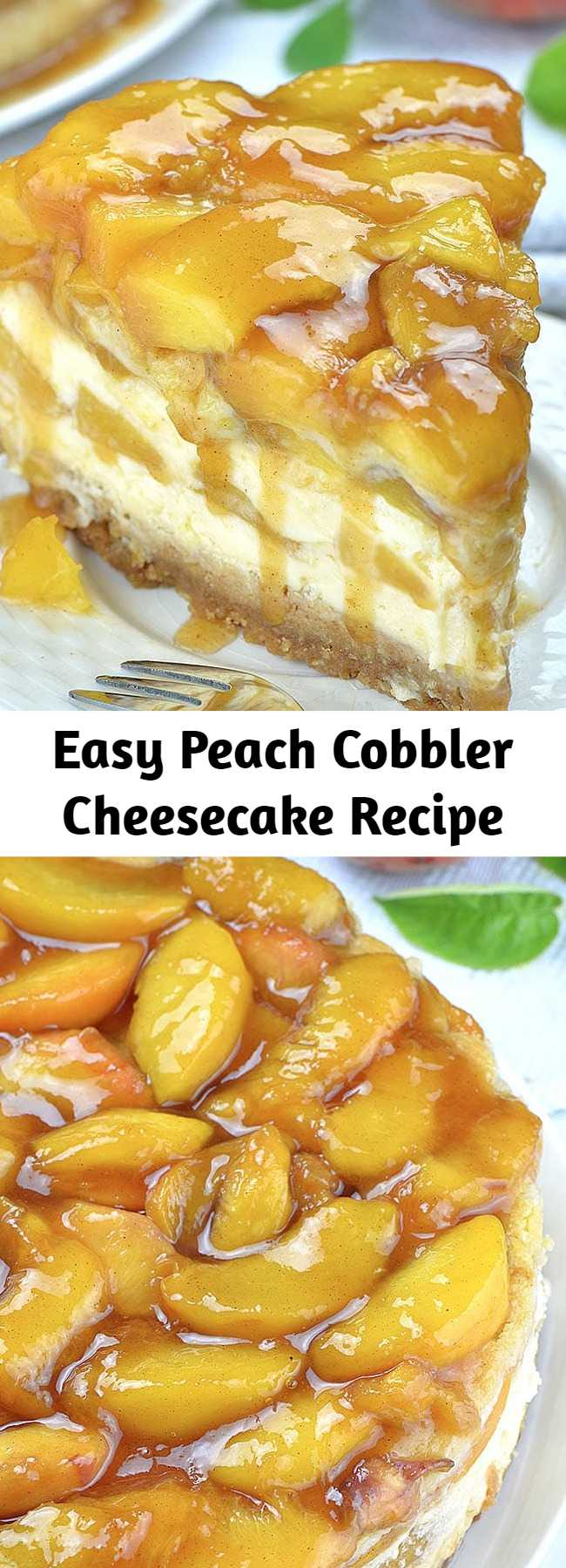 Easy Peach Cobbler Cheesecake Recipe - Peach Cobbler Cheesecake is the most amazing combo of creamy New York Style Cheesecake and classic southern Peach Cobbler, packed into one decadent dessert. It sounds melt-in-your-mouth-good, right? This cheesecake topped with peaches has everything you love about summery peach cobbler and cheesecake, and it's all in one easy dessert recipe!  #cheesecake #peachcobbler #peachcobbler
