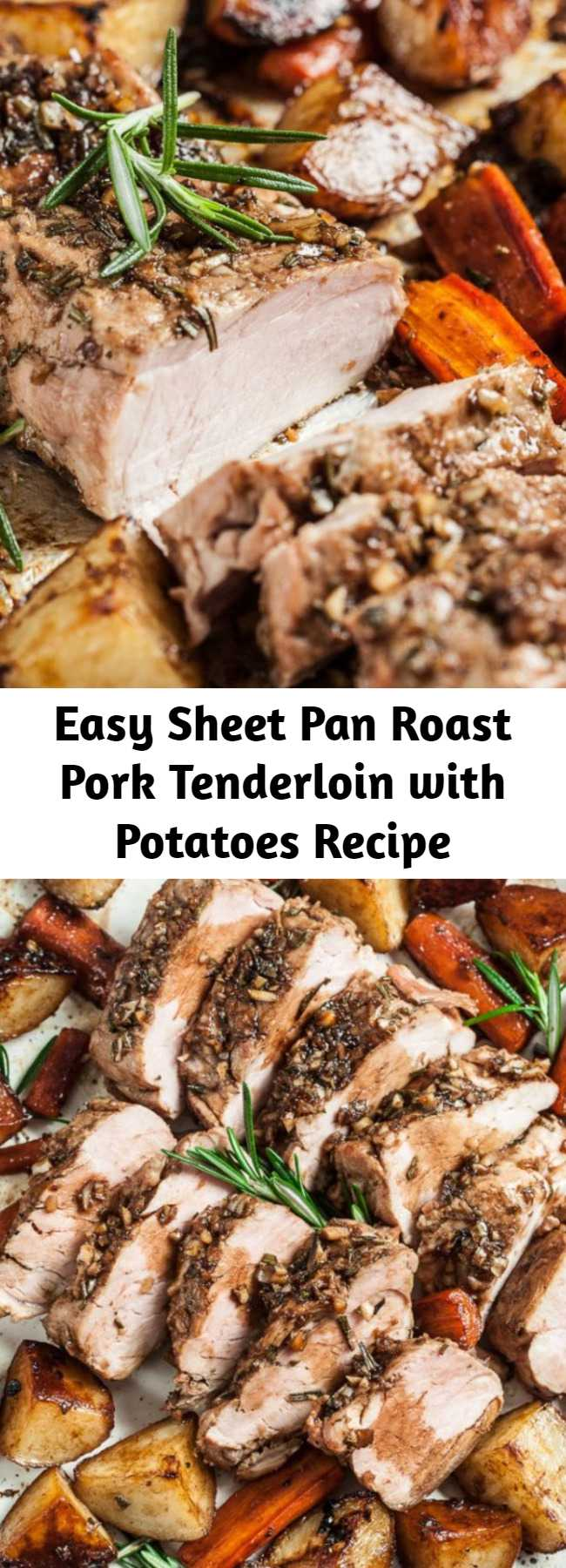 Easy Sheet Pan Roast Pork Tenderloin with Potatoes Recipe - This Sheet Pan Roast Pork Tenderloin with Potatoes is extremely tender, succulent, and healthy. This pork tenderloin recipe is easy enough for a weeknight meal and delicious enough for serving to guests. Little effort with big results.
