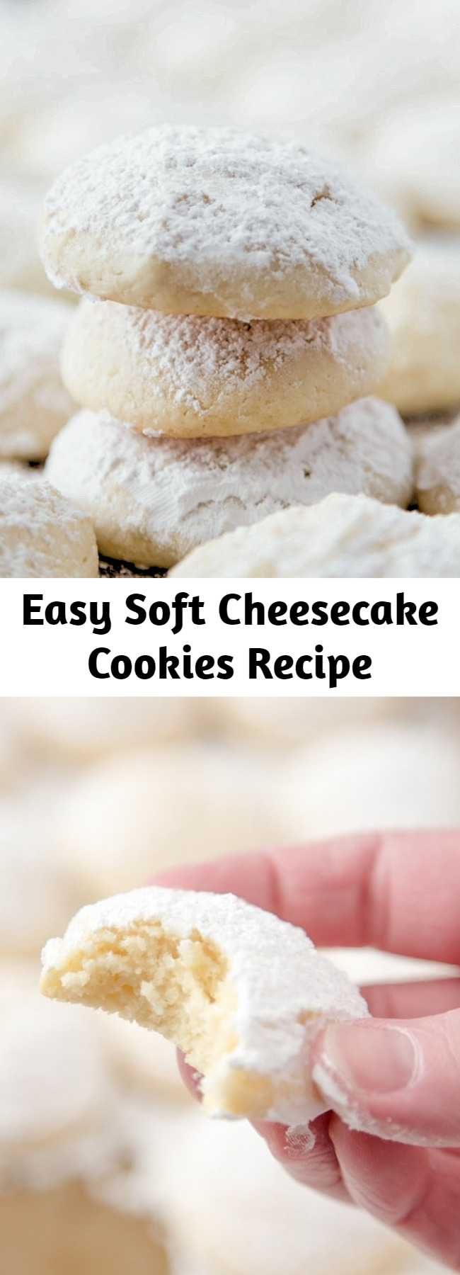 Easy Soft Cheesecake Cookies Recipe - These Cheesecake Cookies are so creamy and tender. It's a delicious cookie recipe that's not too sweet but totally addictive!
