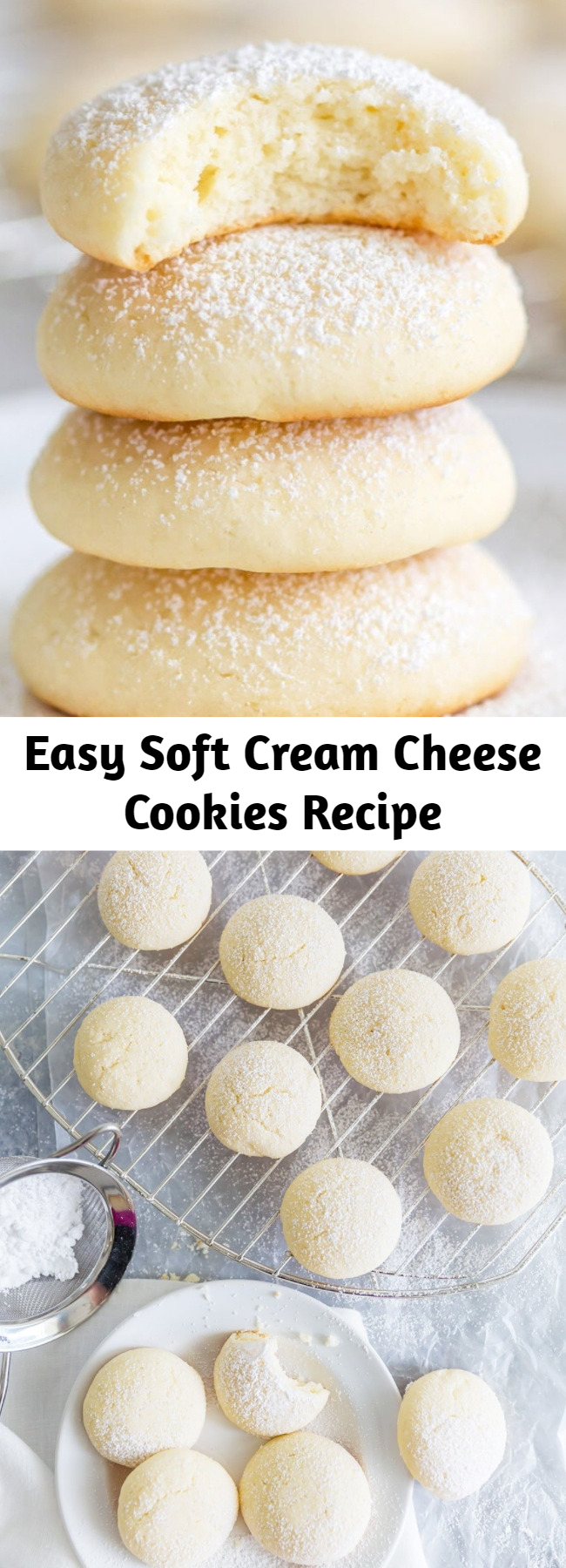 Easy Soft Cream Cheese Cookies Recipe - Pillowy soft cookies that melt in your mouth! Cream cheese cookies are the most heavenly little bites of sweetness! They're addicting; you've been warned! #creamcheesecookies