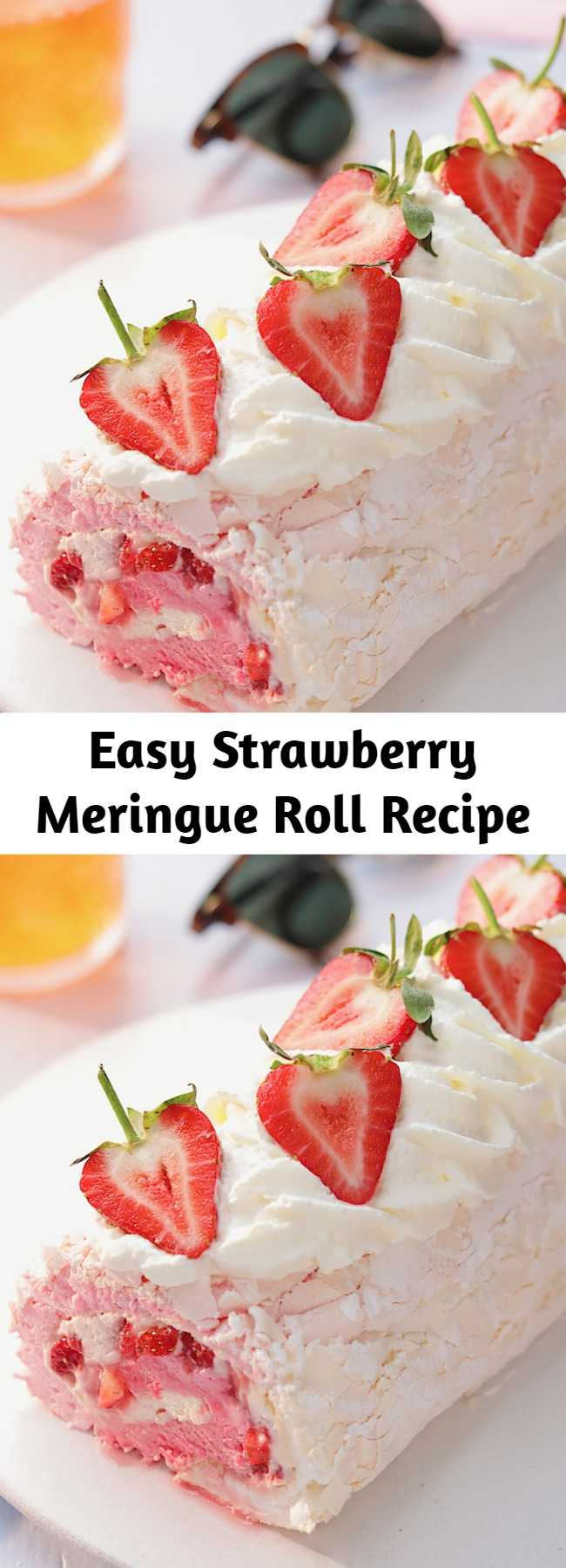 Easy Strawberry Meringue Roll Recipe - We've combined a pavlova and a swiss roll to make your ultimate fruity dessert! This strawberry meringue roll is a sure crowd pleaser!