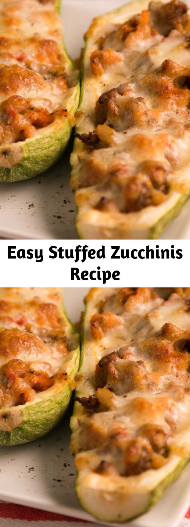 Easy Stuffed Zucchinis Recipe - This is exactly how you're going to feel after you eat this delicious meal. No regrets, though.