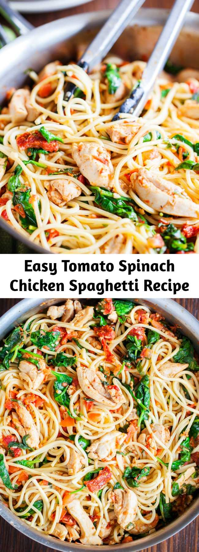 Easy Tomato Spinach Chicken Spaghetti Recipe - One bite of this Tomato Spinach Chicken Spaghetti and you will never buy jarred tomato sauce ever again. Spaghetti is tossed in a fresh and flavorful sauce with pieces of juicy chicken. Fresh spinach adds a boost of nutrients, but feel free to use other vegetables to customize to your family's liking.