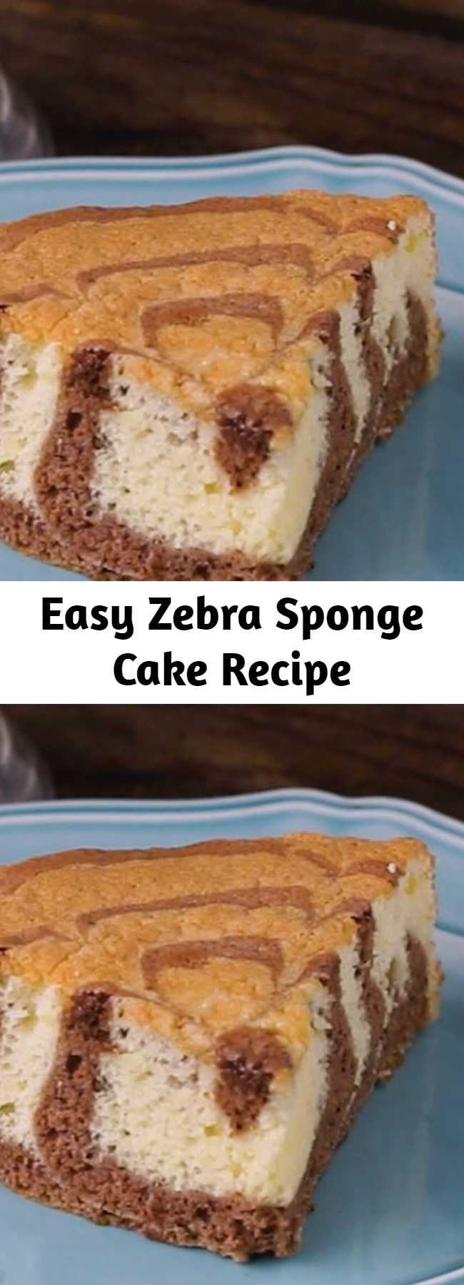 Easy Zebra Sponge Cake Recipe - We wanted a sponge cake recipe that gave us a fairly light cake, one with a springy but delicate texture that could stand up nicely to custard fillings.