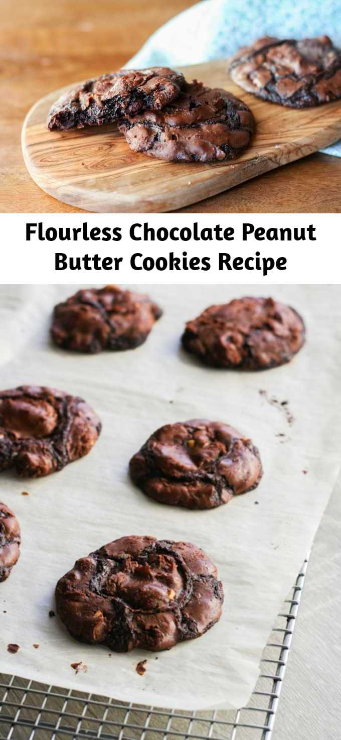 Flourless Chocolate Peanut Butter Cookies Recipe - Flourless Chocolate Peanut Butter Cookies – you will never know these rich and fudgy chocolate peanut butter cookies are gluten free. They are insanely delicious! #Cookies #Chocolate #Peanut_Butter #Flourless