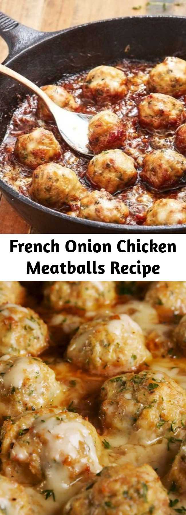 French Onion Chicken Meatballs Recipe - We think everything can be improved by adding meatballs to it. Even French onion soup. It turns an appetizer soup into a full meal, and don't worry, we added even more cheese to it. Gruyère goes into the meatballs and then the whole thing gets topped with more of it before serving. And of course, there's plenty of caramelized onions. #easy #recipe #chickenrecipes #dinnerrecipes #lowcarb #keto #frenchonion #chickenmeatballs #meatballs