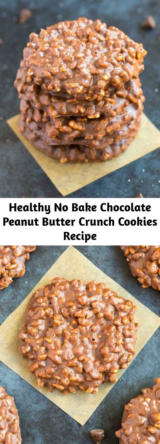 Healthy No Bake Chocolate Peanut Butter Crunch Cookies Recipe - Healthy No Bake Chocolate Peanut butter crunch cookies using just one bowl, 5 ingredients and less than 2 minutes! Easy, fool-proof drop cookies which are naturally gluten free, vegan, dairy free and sugar free!