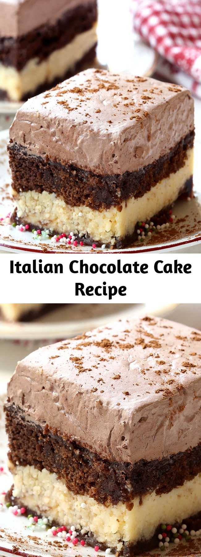 Italian Chocolate Cake Recipe - A combination of chocolate marble cake and cheesecake with a creamy chocolate topping, this Italian Chocolate Cake is an absolute must try.