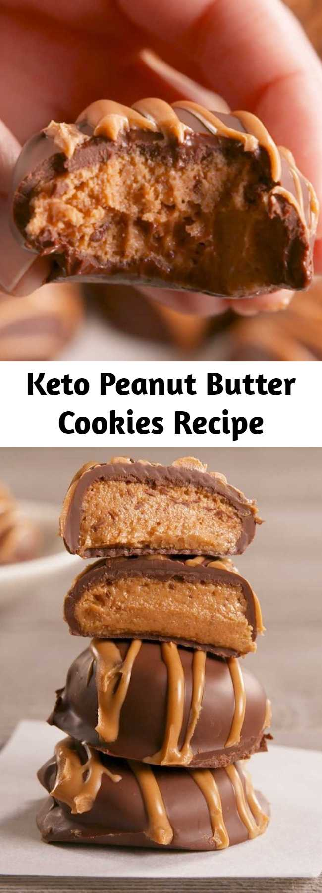 Keto Peanut Butter Cookies Recipe - A no-bake cookie that tastes like the best homemade peanut-butter cup you've ever had! Forget the guilt and have all the fun—we've re-edited this recipe to call for keto-friendly ingredients! #food #easyrecipe #keto #healthyeating #cleaneating