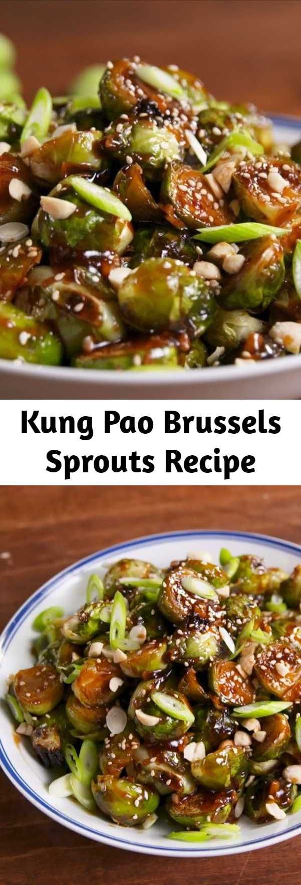 Kung Pao Brussels Sprouts Recipe - The kung pao sauce on these will turn everyone into a lover of Brussels sprouts. Salty, spicy, and addicting. #food #easyrecipe #healthyeating #cleaneating #vegetarian