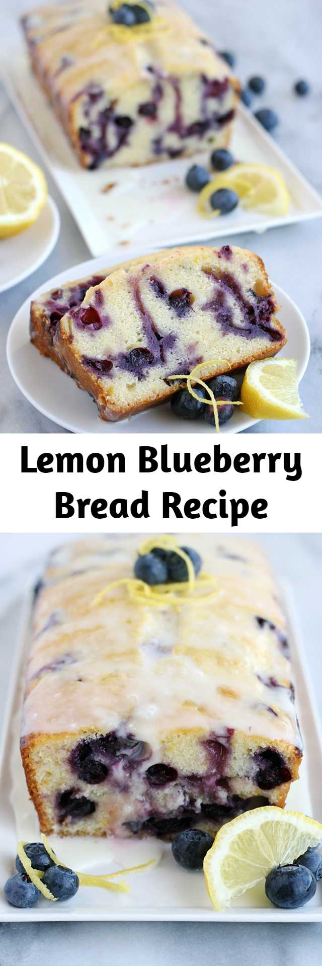 Lemon Blueberry Bread Recipe - This Lemon Blueberry Bread is a delicious, flavorful quick bread perfect to enjoy along with a cup of coffee or tea. It's moist, fluffy, sweet and flavorful! I love the bright flavors of blueberry and lemon, and they work together so beautifully in this simple loaf. I know I'll be making this recipe again and again!