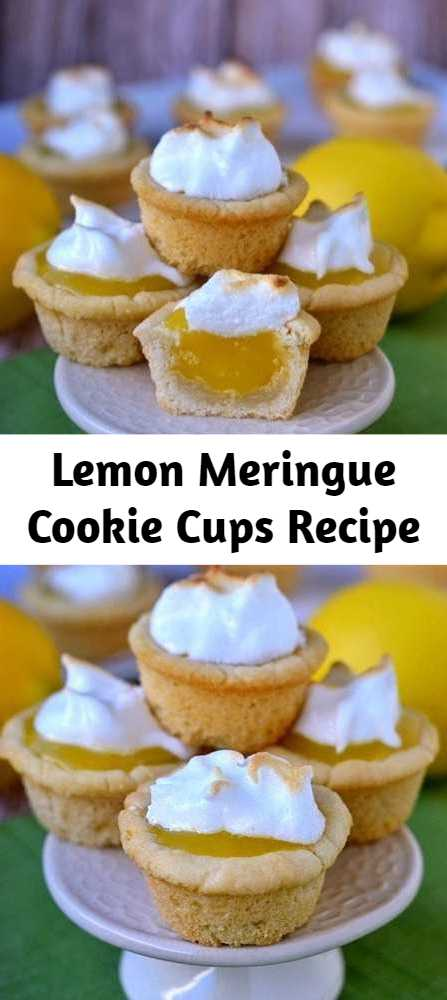 Lemon Meringue Cookie Cups Recipe - Lemon Meringue Cookie Cups are the perfect dessert for my lemon lovers out there! Sugar cookie cups pair perfectly with the refreshingly tart lemon curd filling in these sweet little Lemon Meringue Cookie Cups!The lemon curd filling is made in the microwave and is going to be your new favorite thing - promise. I love these delightful little cups for parties and entertaining. They are so pretty and an absolute crowd pleaser.